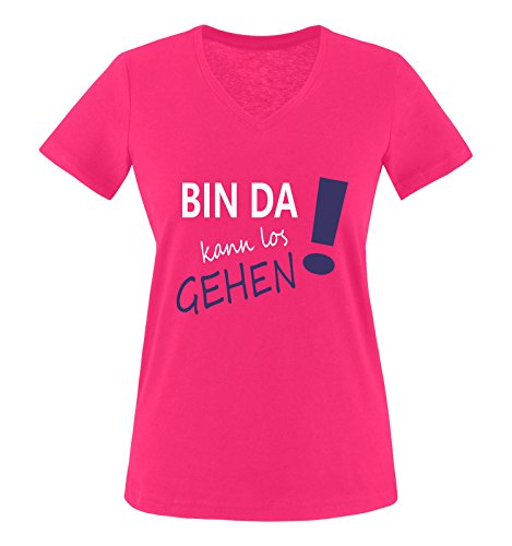 Comedy Shirts - Bin da kann los gehen! - Damen V-Neck T-Shirt - Pink/Weiss-Lila Gr. M