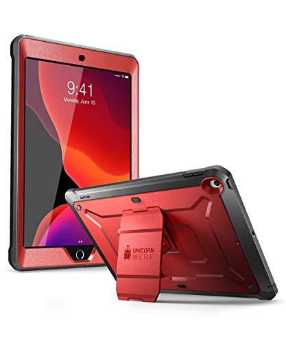 SUPCASE Unicorn Beetle Pro Series Case for iPad 10.2 (2020/2019), with Built-in Screen Protector Protective Case for iPad 8th Generation 2020/iPad 7th Generation 2019 (MetallicRed)