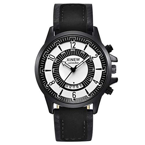 Relógio de pulso masculino Axiba ultrafino de quartzo analógico com pulseira de couro PU e data (A)