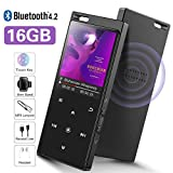 16GB SUPEREYE Reproductor MP3 Bluetooth 4.2 con Botón Táctil Reproductor de Música Digital con Auriculares con Cable, Altavoz Incorporado, Radio FM, Soporte hasta 64 GB