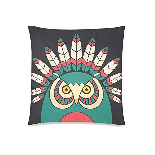 WXM Funda de cojín con diseño de búho indio con plumas, funda de almohada cuadrada con cremallera, 45,7 x 45,7 cm
