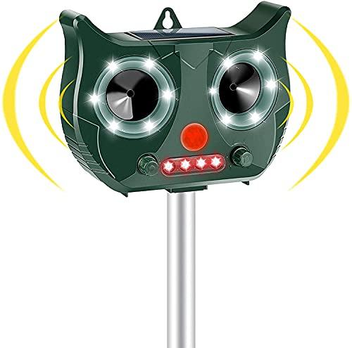 Vivibel Repellente Gatti, Solare Repellente per Animali, USB Repeller Impermeabile a Ultrasuoni, 5 Modalità Regolabile, per Allontanare Animali, per Gatti, Ratti, Uccelli, Cane, Selvaggina Rossa