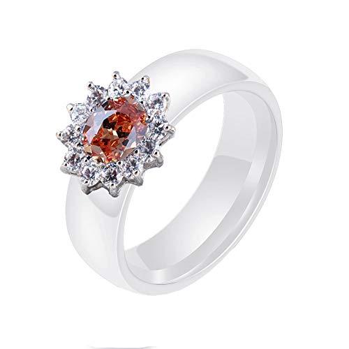 Joielavie Ring voor Dames Vrouwen Keramisch Koper Ovaal Kristal Zirkonia Bedel Engagement Bruiloft Band Sieraden (10 Kleuren)