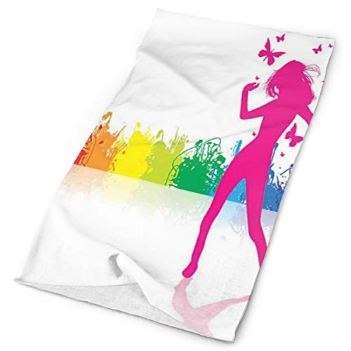 Headwear Headband Head Scarf Wrap Sweatband,A Girl Dancing in Front of Color Splash Crowd Music Party Be Positive Vibrant Life,Sport Headscarves for Men Women