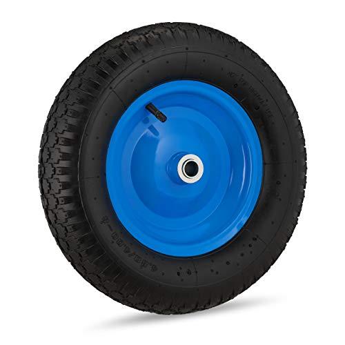 Relaxdays Schubkarrenrad 4.80 4.00-8, luftbereift, Stahlfelge, mit Achse, Ersatzrad Schubkarre, bis 120 kg, schwarz/blau