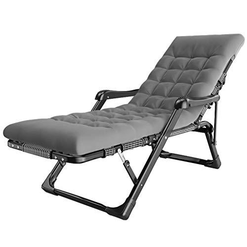 ZBBN Silla de jardín Plegable Tumbona de jardín reclinable Cuna al Aire Libre Camping Tumbona para Adultos con césped cómodo MAX.250kg - Gris