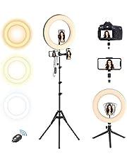 Selvim Anillo de Luz 10'' LED Trípode, Aro de luz 2,1m Regulable, 3 Soportes para Teléfono Móvil, Control Remoto Bluetooth, 128 Bombillas 3 Modos 10 Brillos, para Fotografía Maquillaje Selfie TIK Tok