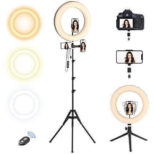 Selvim Aro de luz 10'' LED Trípode, Anillo de Luz 2,1m Regulable, 3 Soportes para Teléfono Móvil, Control Remoto Bluetooth, 128 Bombillas 3 Modos 10 Brillos, para Fotografía Maquillaje Selfie TIK Tok