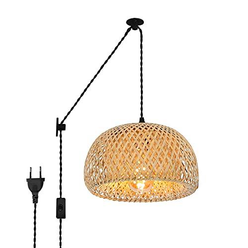 BarcelonaLED Lámpara Colgante de Mimbre con Cable y Enchufe Vintage Polea Ratán Bambú Madera para Techo Pared Comedor Cocina Salón