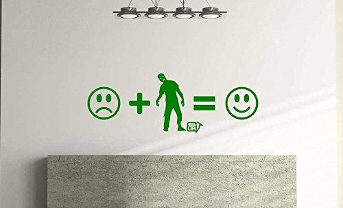 Zombies Make Me Happy, Adhesivo decorativo para pared, divertido arte de pared para habitación infantil, sala de juegos (57 cm x 21 cm), color verde