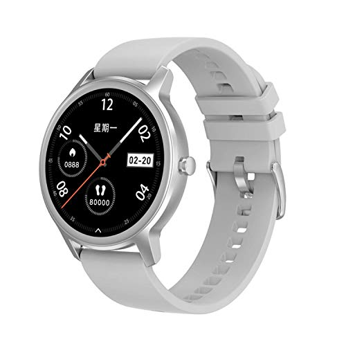 TYOP Smart Watch, Pantalla de 1.28 Pulgadas, Rastreador de Fitness, Pulsera de Pedómetro Deportivo, Dial Rich, Push Message Push, Smart Recordatorio, IP67 Waterproo, 180mAh (Color : Silver/TPU)