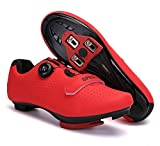 Mens Womens Road Bike Cycling Shoes, Riding Shoes Compatible Peloton Bike Shoes with Look ARC Delta Cleats Perfect for Indoor Outdoor (Red, M9.5)