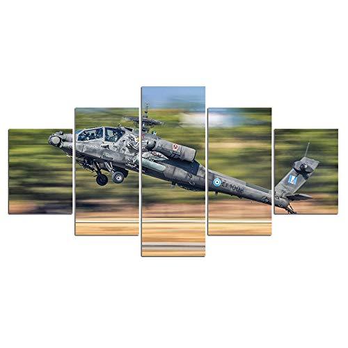ELSFK Cuadro En Lienzo Avión Aeronave Ejército Helicóptero Impresión De 5 Piezas Material Tejido No Tejido Impresión Artística Imagen Gráfica Decor Pared 100x55cm