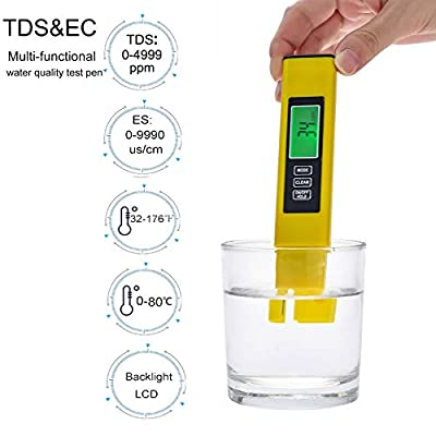 Tds Tester for Drinking Water, Digital Water Quality Tester, Reliable and 2% Readout Accuracy 0-9990 ppm, EC Meter & Temperature Meter PPM Meter for Hydroponics Aquarium, Swimming Pools, RO/DI Water