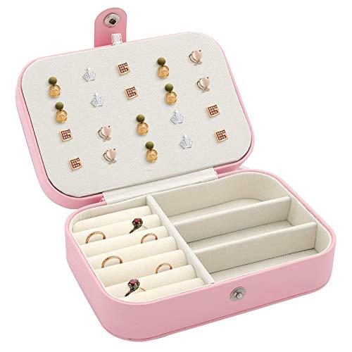 Joyero de Doble Capa Cuero de PU Cajas de joyería Premium Estuche Organizador Varios Compartimentos Joyas pequeñas Viaje para Anillos Pendientes Collar Pulseras