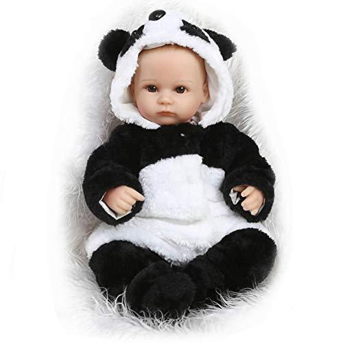 FHSGG Reborn Panda Babypuppen Glatze Kopf Schöne Real Life Weiche Silikon Vinyl Lebensechte Spielzeug 42 cm Neugeborenes Baby Geschenk Realistische Puppen