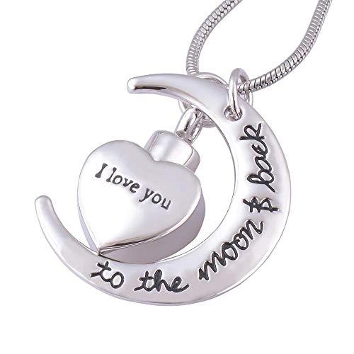Memorial Cenizas Te amo a la luna y el collar de la cremación conmemorativa de la luna para la joyería colgante de la urna de las cenizas. urna cremación collar memorial