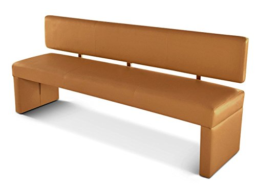 SAM® Esszimmer Sitzbank Sander, 200 cm, in Cappuccino, Sitzbank mit Rückenlehne aus Samolux®-Bezug, angenehmer Sitzkomfort, frei im Raum aufstellbare Bank