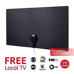 GE UltraPro Edge HD Amplified TV Antenna, 55+ Mile Range, Reversible Black and White Finish