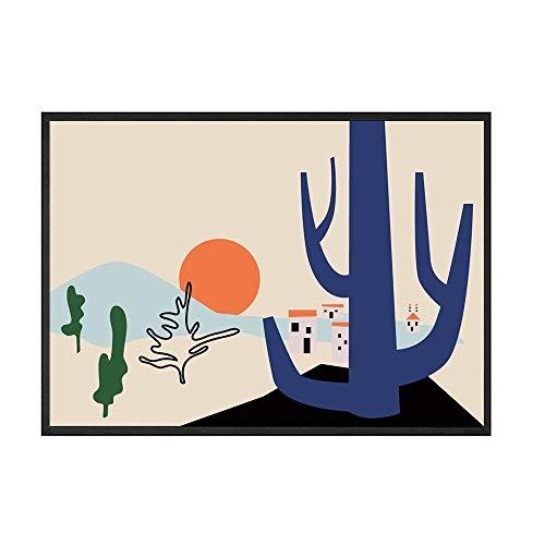 Cartel de la pared de la lona del paisaje abstracto nórdico túnel del sol pintura de la carretera casa sin marco pintura decorativa de la lona B 30x40cm