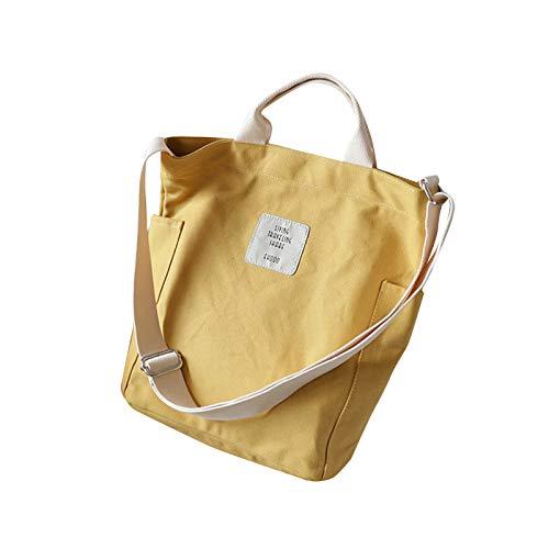 Aprimay Bolso de mano de lona simple fácil a juego mujer Satchel bolsos de lujo gran capacidad estudiante hombro