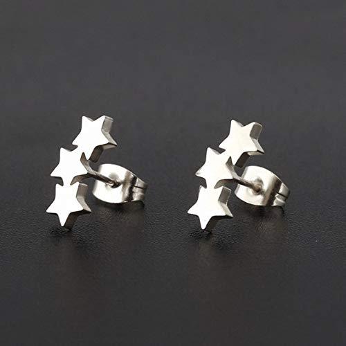ESCYQ DamenOhrringeOhrsteckerOhrhängerTropfenOhrlinie Silber DREI Sterne Injektionsnadel Aus Rostfreiem Stahl Ohrringe Einfache Persönlichkeit Mode Frauen Ohrringe Ohrringe