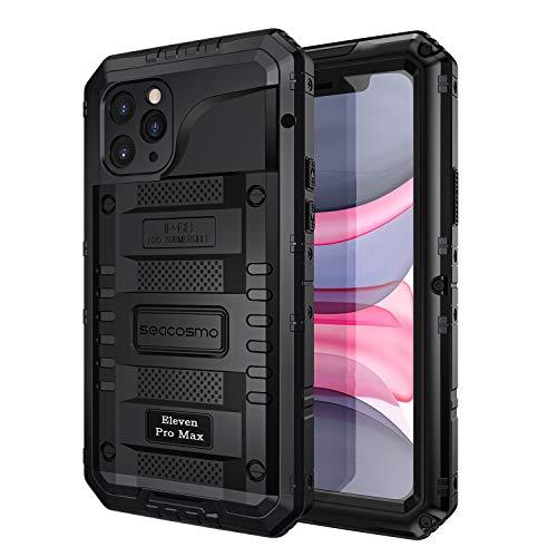 seacosmo iPhone 11 Pro Max Wasserdicht Hülle, Militärstandard Schutzhülle mit Eingebautem Displayschutz Stoßfest Metall Handyhülle für iPhone 11 Pro Max, Schwarz