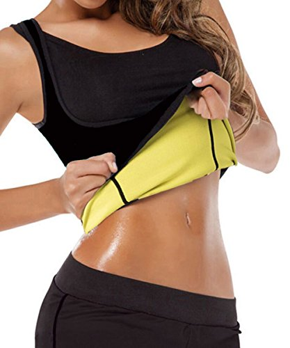 Gainkee Neoprene Sweat Waist Trainer Vest for Weight Loss Women Slimming Shirt Body Shaper with Sauna Suit Effect (Medium) Black