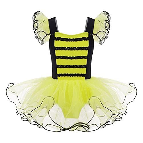 IEFIEL Vestido Princesa con Tut de Fiesta para Nia Vestido Manga Gigote de Danza Ballet Disfraz de Bailarina Vestido Elegante de Fiesta Navidad N Amarillo 7-8 aos