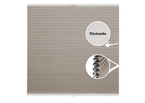 ondeco Waben-Plissee Thermo auf Maß für alle Fenster innen, Montage in Glasleiste Spannschuh, Sonnenschutz-Rollo lichtschutz und Blickdicht, Verdunkelung Hellbeige B: 51-60 cm, H: 40-100 cm