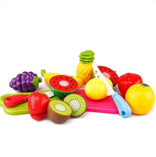JUNGEN Jeu D'imitation Coupe Fruits Légumes Jeu enfants Kid Jouet éducatif a Decouper de Cuisine Pizza a Decouper pour les Enfant Bébés a la Maternelle école 13pc