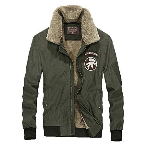 Men's Warm Winter Military Coat Windproof Lightweight Plus Size Soft Outwear Zipper Jacket Army Green