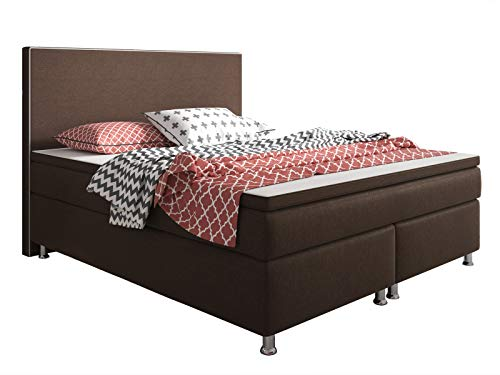 Inter King Size Boxspringbett, 100% Polyester, braun, 180x200 cm