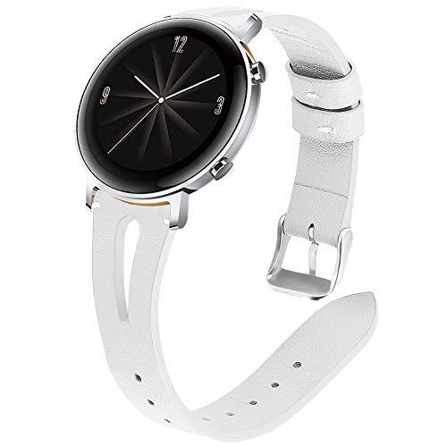 Miimall - Correa de reloj de 20 mm compatible con Huawei Watch GT 2 42 mm, piel premium de liberación rápida para mujer, piel de repuesto para Huawei Watch GT2 42 mm – blanco