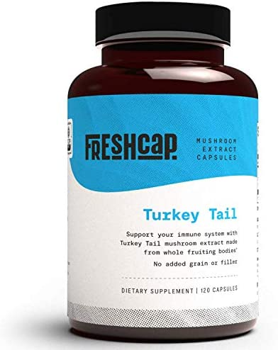 FreshCap Organic Turkey Tail Mushroom Supplement for Powerful Immune Support 120 Capsules 60 product image