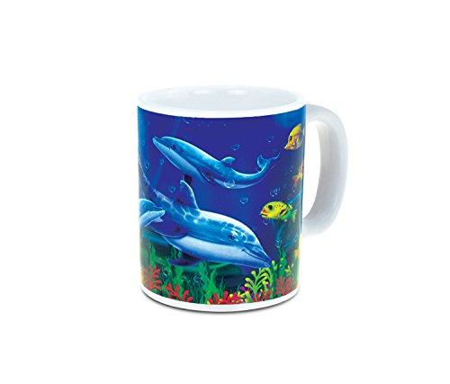 "CoTa Global ""Dolphin Reef"" Mini Mug Nautical Beach Ocean Life Theme Tumbler Glassware Travel Cup with Handle Souvenir Drinkware"