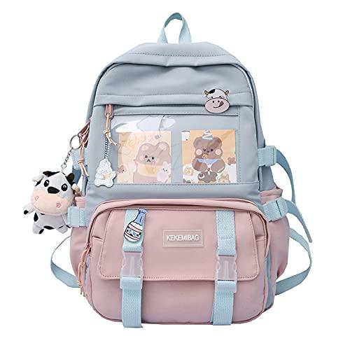 Kawaii Mochila con colgante Kawaii y accesorios, bonita mochila escolar para viajar, Harajuku para adolescentes, 43 x 30 x 13 cm, Rosa., 43 EU