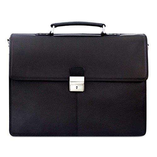 STILORD Herren Aktentasche Dokumententasche Laptoptasche Business Büro Tasche mit Schultergurt echt Leder Schwarz