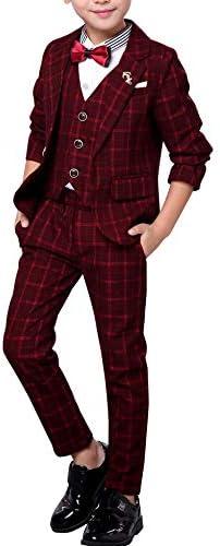 Three Piece Korean Plaid Suit Dress Formal Children Soft Suit Jacket Vest Pants Medium Suits product image