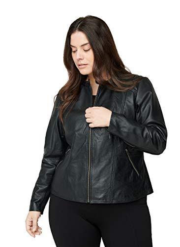 Zizzi Damen Große Größen Lederjacke Reißverschluss Taschen Gr 42-56