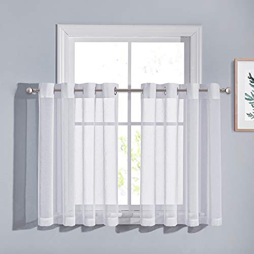 PONY DANCE Sheer Cafe Curtains - 55 Wide by 36 Long White Window Valances Linen Look Short Voile Panels Sheer Blinds Grommet Half Curtains for Kitchen Bathroom, 2 Pieces