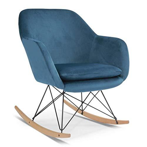 IDMarket - Fauteuil à Bascule Bora Velours Bleu