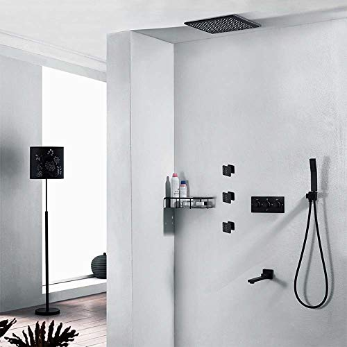 Fantastic Prices! RuiXia Hot and Cold Embedded Control Valve in-Wall Black Concealed Shower Set 12 I...