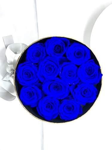 12 Rosas Azules preservadas en Caja Regalo - Rosas eternas en bombonera Blanca y Dorada con Lazada - Regalo Novias, Boda, Regalo romántico Flores Día de la Madre