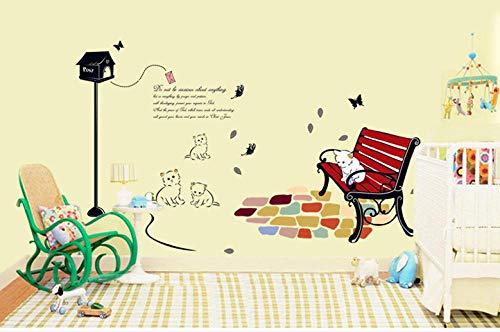 Autocollant de fond de chambre d'enfant mignon Kitty autocollant de mur amovible écologique