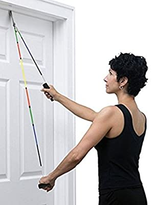 TheraBand. Shoulder Pulley, Overhead Shoulder Pulley for Physical Therapy, Over the Door Pulley with Foam Handles and Color Coded Rope for Increasing Range of Motion