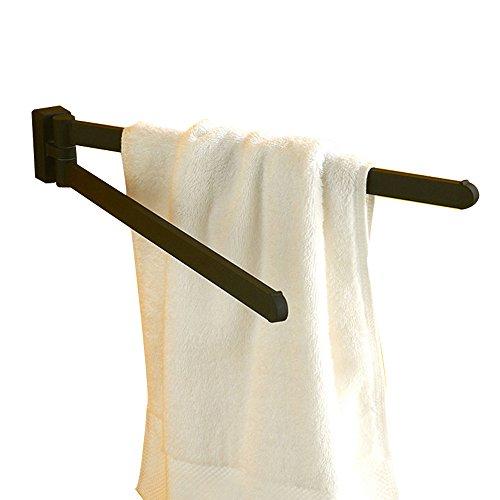 CASEWIND Handtuchstange Schwarz Matt, Wand Handtuchhalter Bad, Badtuchhalterung Zweiarmig Schwenkbar Nostalgie mit Bohren Wandmontage