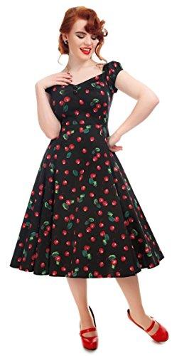 Collectif Damen Kleid Dolores Doll Cherry Kirschen Dress Schwarz M