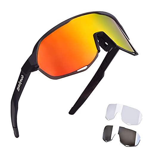 Polarized Sports Sunglasses Cycling Glasses with 3 Interchangeable Lenses Mens Womens Sunglasses for...