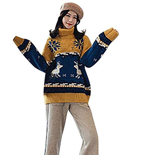 Vrouwen Kerst Losse Coltrui Gebreide Sweater Dames Lange Mouw O-hals Vrolijk Kerstmis Elk Print Pullover Sweatshirts Top